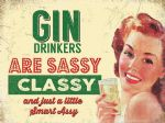 VINTAGE STYLE RETRO METAL WALL SIGN TIN PLAQUE GIN DRINKER HUMOUR